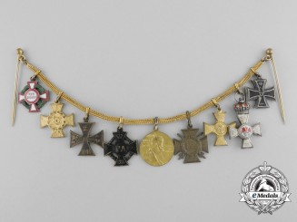 A Fine First War Imperial Miniature Chain with Crowned Red Eagle
