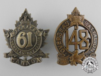 Two First War Canadian Cap Badges