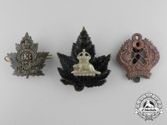Three First War Period Canadian Cap Badges