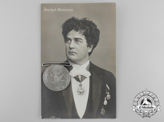 A Turkish Medal of Sanayi with Photo/Postcard of German Recipient