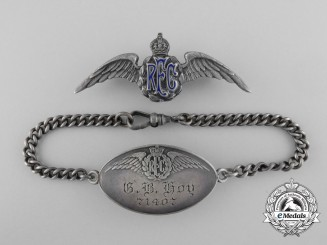 A Royal Flying Corps (RFC) Identification Bracelet and Sweetheart Wings