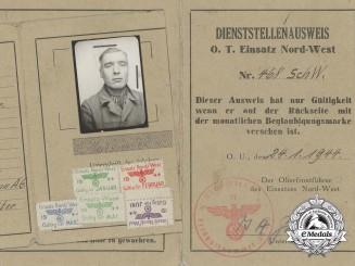 Todt Organisation Identification Booklet for Rudolf Sadowski 1944