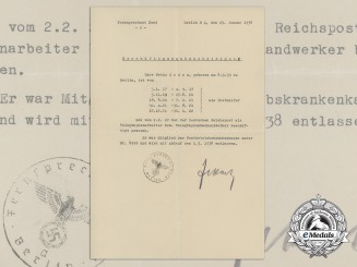 A Certificate of Employment from Telephone Exchange North, Berlin