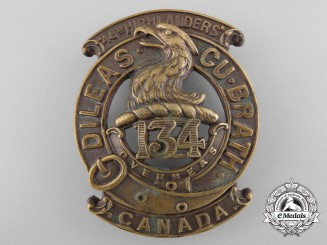 """A First War 134th Infantry Battalion """"4th Highlanders"""" Glengarry Badge"""