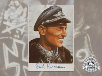 """A Luftwaffe Fighter Ace Erich """"Bubi"""" Hartmann Signed Colour Photograph"""