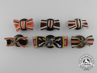 Six German Button-Hole Miniature Ribbon Bars