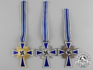 Three German Mother's Crosses; Gold, Silver & Bronze