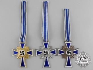 Three German Mother's Crosses; Gold, Silver & Bronze