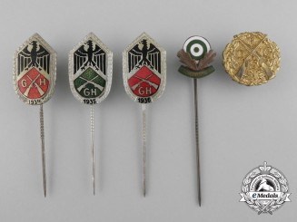 Five German Shooting Badges & Stickpins