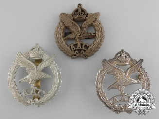 Three Army Air Corps (AAC) Cap Badges