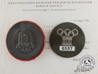 A 1936 Berlin Olympic Games Group to Albert Kosse; Olympic Games Village Employee