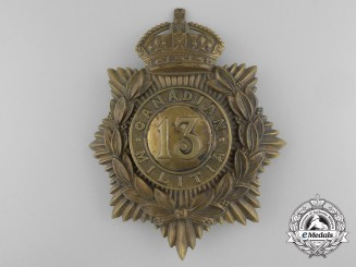A 13th Regiment Canadian Militia King's Crown Brass Helmet Plate