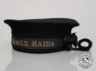 A Second War Royal Canadian Navy H.M.C.S. Haida Sailor's Cap 1944