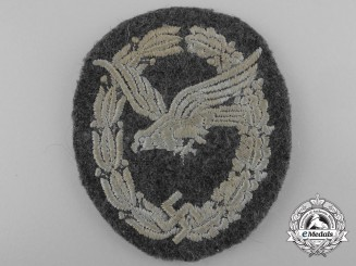 A Luftwaffe Air Gunner Badge; Cloth Version