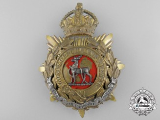 A Royal Warwickshire Regiment Officer's Helmet Plate