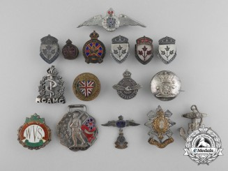 Sixteen British & Canadian Pins, Badges and Medals