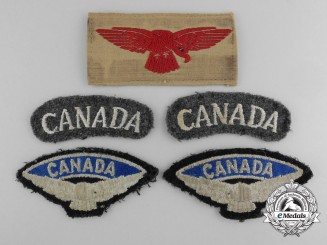 Five Royal Canadian Air Force Uniform-Worn Insignia