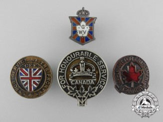 Four First & Second War Canadian Badges