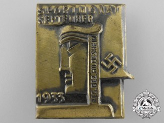 Germany, Wehrmacht. A 1933 Hildesheim Sport-Month Badge