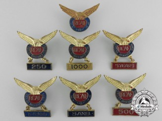 Seven Royal Canadian Air Force (RCAF) Ground Observer Corps Lapel Badges
