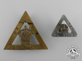 "Two First War ""On War Service"" 1916 Badges"