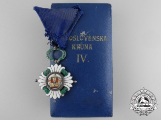 Yugoslavia, Kingdom. An Order of the Crown, IV Class with Case, by Huguenin Freres