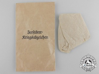 A Kriegsmarine Destroyer War Badge Award Packet; Otto Schickle