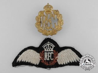 A Royal Flying Corps (RFC) Pilot Wing Badge and Cap Badge