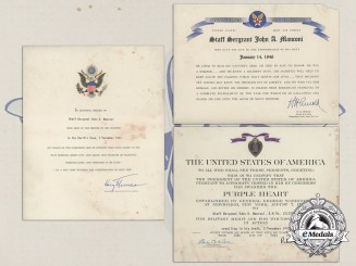 Three Documents To Staff Sergeant John A. Manconi; Died in the Pacific Area, November 2, 1943