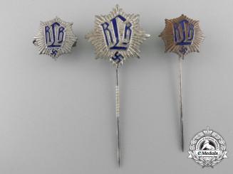 Three Reichsluftschutzbund (RLB) Membership Stickpins
