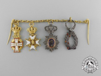 A Fine Danish Miniature Chain of Four with Gold and Diamonds