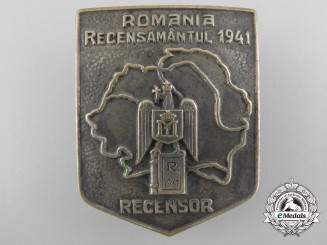 Romania, Kingdom. A 1941 Census Taker Badge