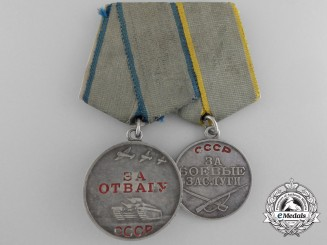 A Soviet Armed Forces Bravery Medal Pair