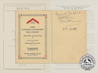 A 1934 First Canadian Contingent Re-Union Programme; Notable Signatures