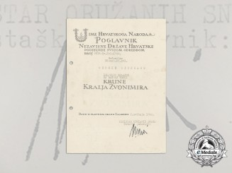 A Formal Croatian Document for the Award of the A. Pavelic Bravery Medal