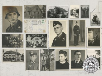 A Set of 21 Military & Family Photographs of a Panzer-SS EM
