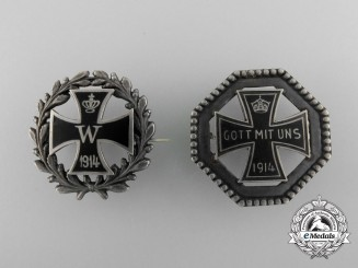Two First War German Iron Cross Badges 1914