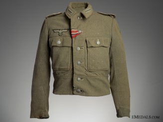 Battle Worn Field Blouse & Side Cap, 1944