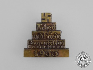 """A 1933 Hessen-Nassau """"Work and Peace"""" Regional Party Day Badge"""