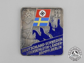 Germany. A 1939 Germany vs. Sweden Athletics Competition in Berlin Medal