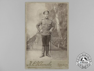 An Early Russian Imperial Studio Photo of a Solider with Two Awards