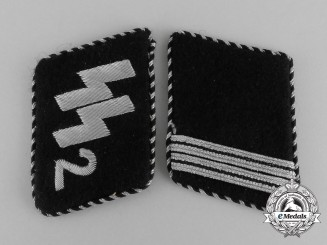 A Matching Set of Waffen-SS Standarte Germania Rottenführer Tank Collar Tabs; RZM Tagged