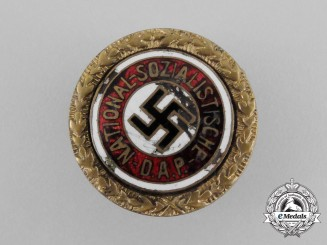 An Early Small NSDAP Golden Party Badge; Numbered 27170