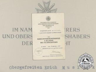 A War Merit Cross Award Document to Division Großdeutschland