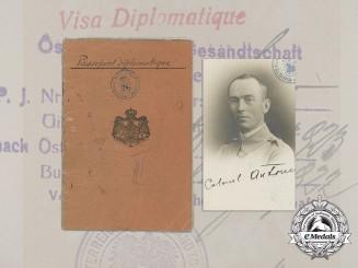 Romania, Kingdom. The Diplomatic Passport of Ion Antonescu, 1922
