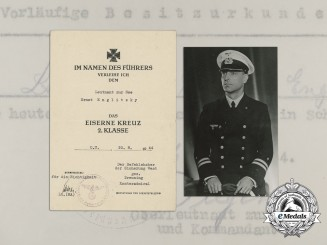 Two Award Documents to Kriegsmarine Leutnant zur See; Wound Badge & EK