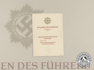 An Unissued Kriegsmarine German Cross in Gold Award Document