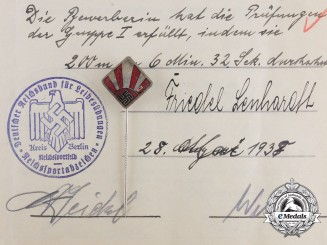 A DRL Sports Badge Document & Sports Teacher Stickpin to Female Teacher Friedel Lenhardt
