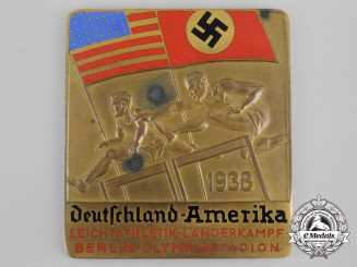 A 1938 Germany vs. Amerika Athletics Competition Triple Jump Medal