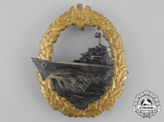 A Fine Early Quality & Near Mint Kriegsmarine Destroyer War Badge by Schwerin
